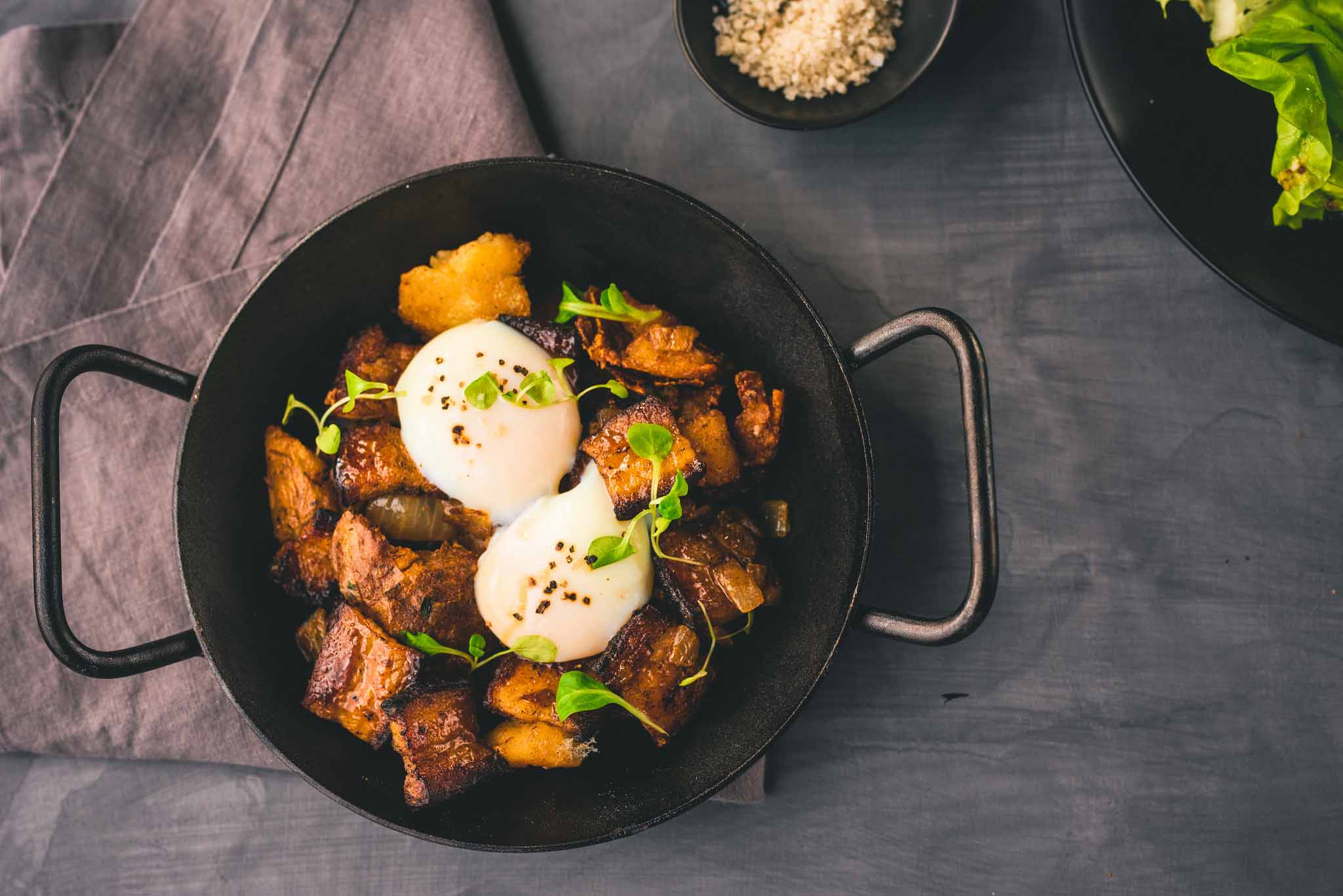 APPLE CIDER PORK BELLY HASH tarragon potato cracklins, two poached eggs