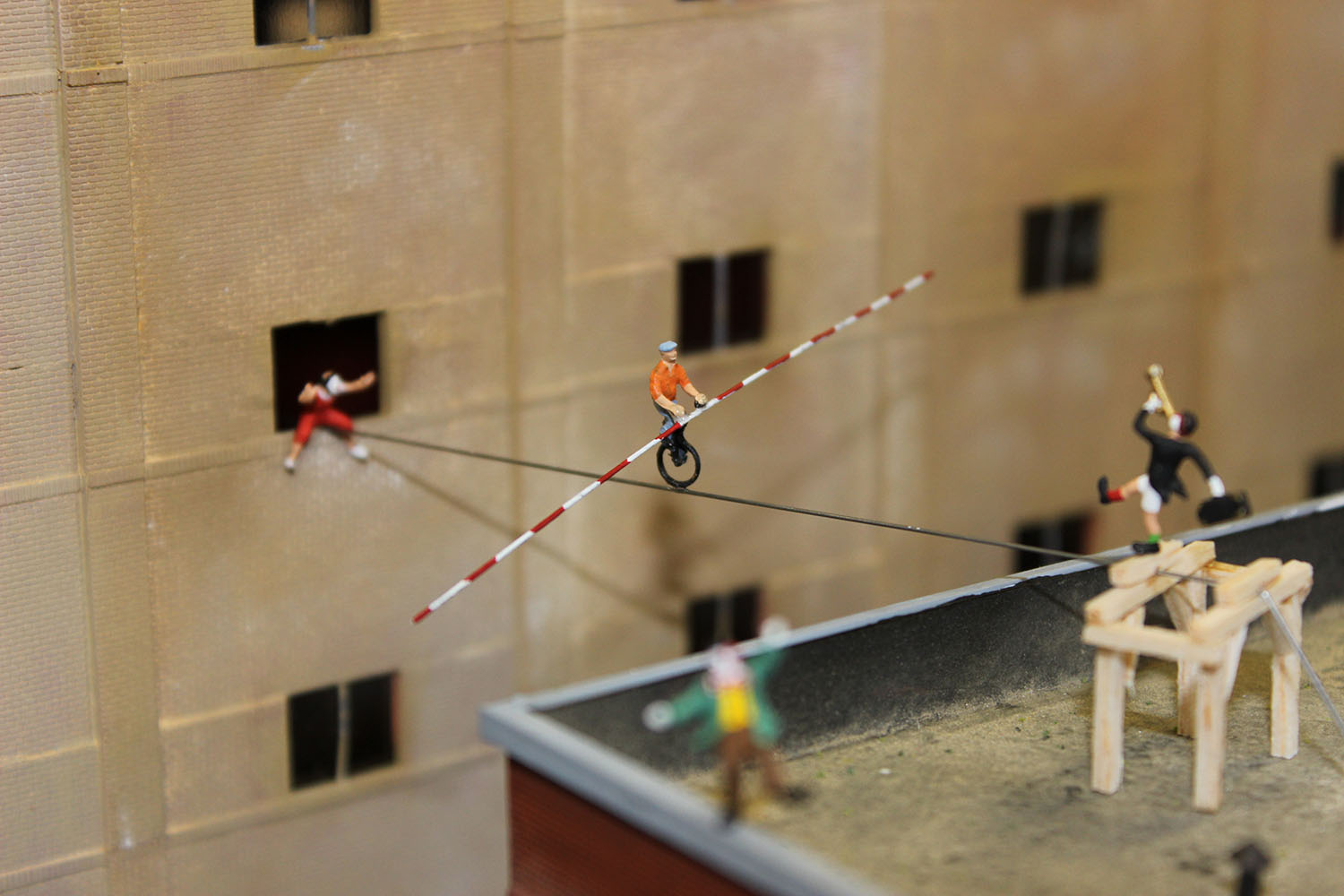 Tight rope cyclicst in Tupelo Honey Café Johnson City model train.