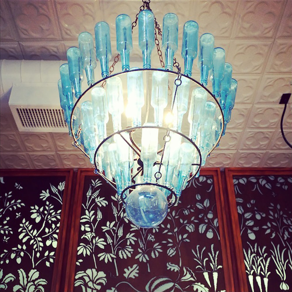 Tupelo Honey Café Knoxville signature local chandelier.