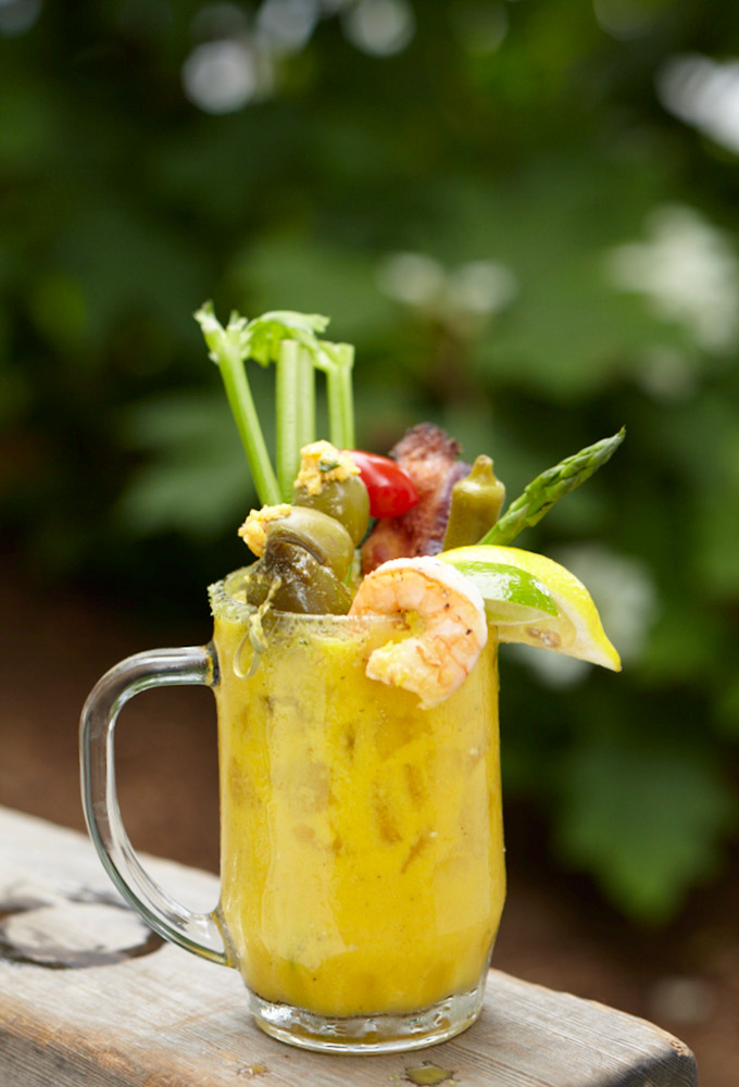 Queen Bloody Mary with roasted yellow tomatoes and a killer garnish.