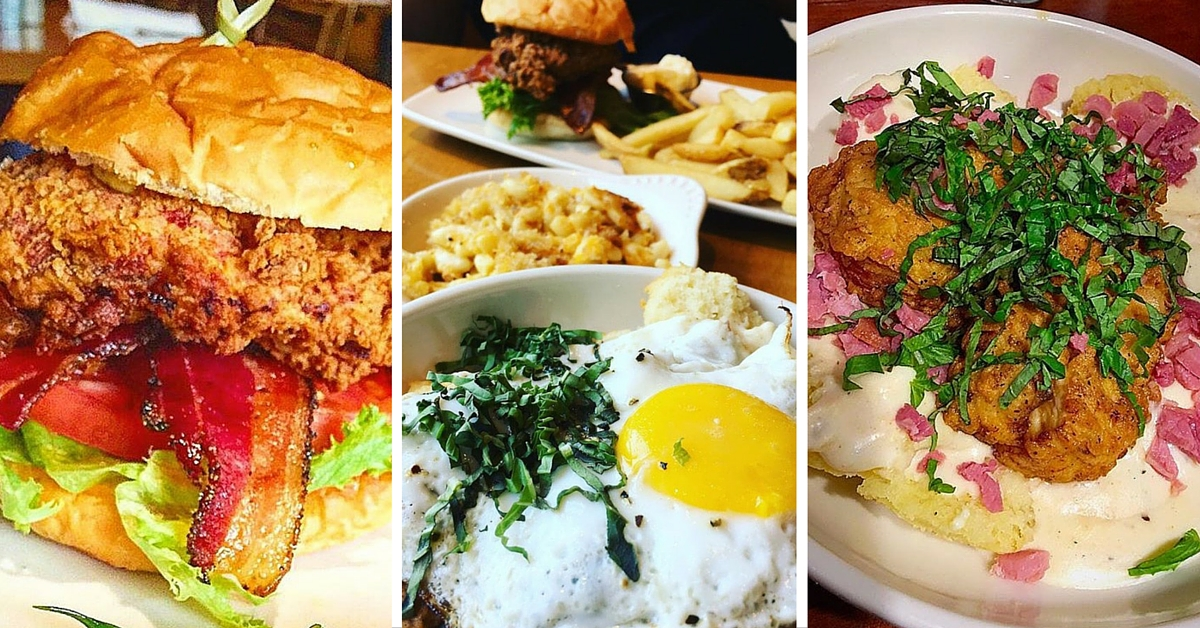 Collage of Southern Fried Chicken BLT, Brunch Plate and Fried Chicken and Biscuits