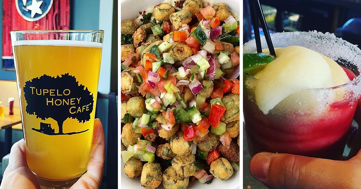 Photo Collage of Beer, Grit Bowl and Frozen Cocktail