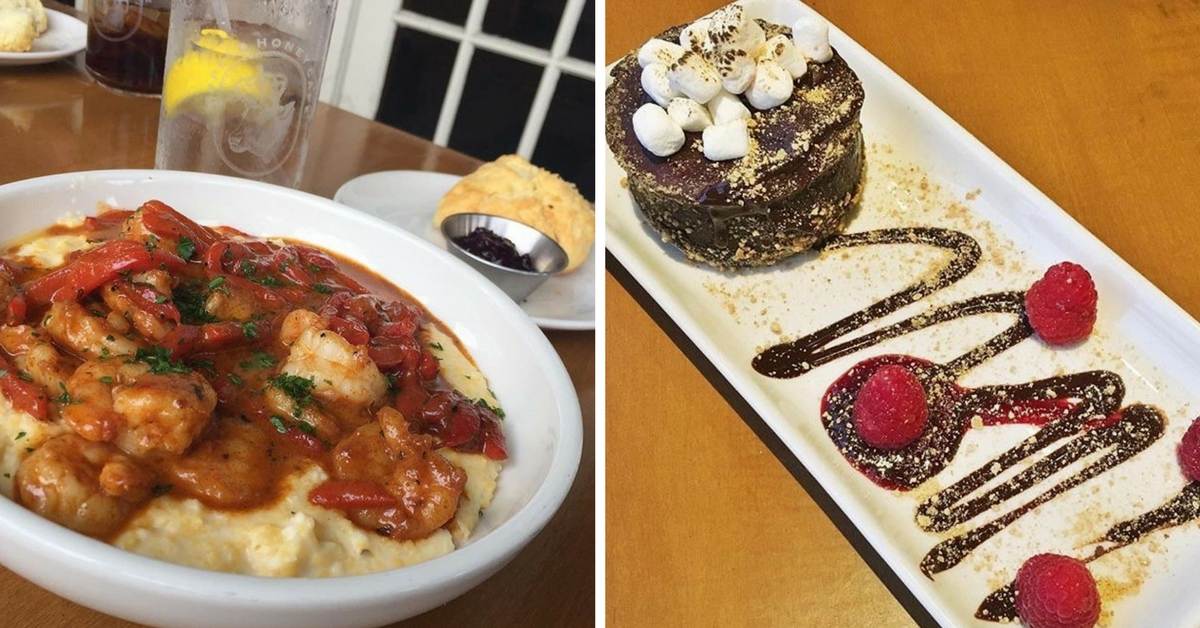 Collage of Shrimp & Grits and Glamping S'mores Cake