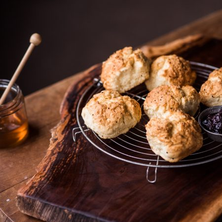 Fresh baked Biscuits with Jam and Honey