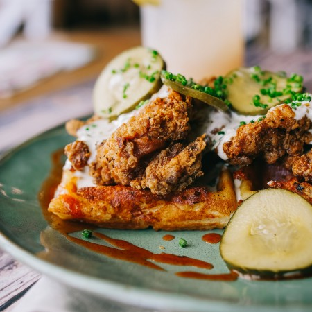 Mac & Cheese Waffle with Asheville Hot Fried Chicken